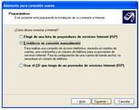 conexion manual - Configuración de Internet