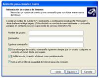 user pass - Configuración de Internet